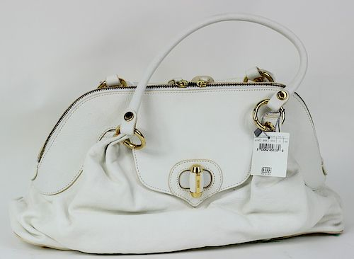 Moschino White & Gold Twist Lock Hand Bag Purse