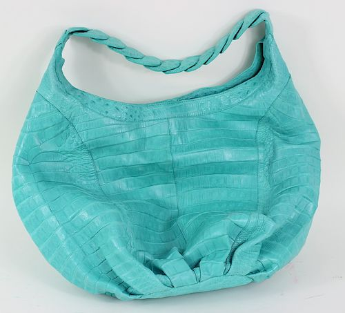 Nancy Gonzalez Turquoise Crocodile Hand Bag Purse