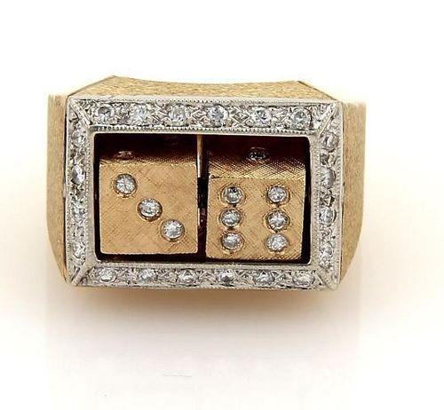 Diamond 14k Gold Spinning Dice Gambler Ring