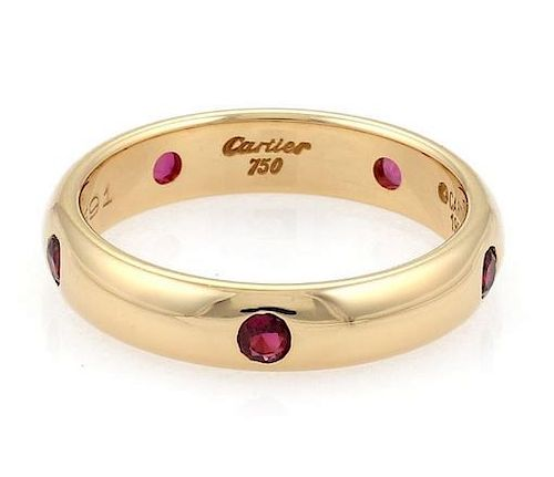 Cartier Stella Ruby 18k Gold 4mm Dome Band Ring