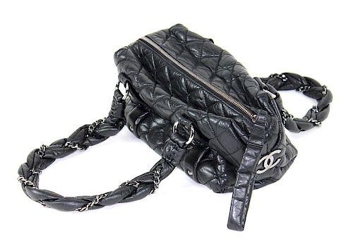 Vintage Chanel Leather Handbag. Chrome Hardware.