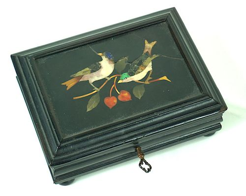 Antique 19th C. Pietra Dura Ebonized Trinket Box