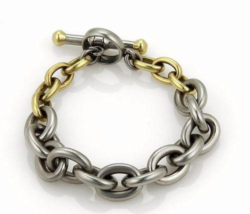 Kieselstein Cord 18k Gold Steel Oval Link Bracelet