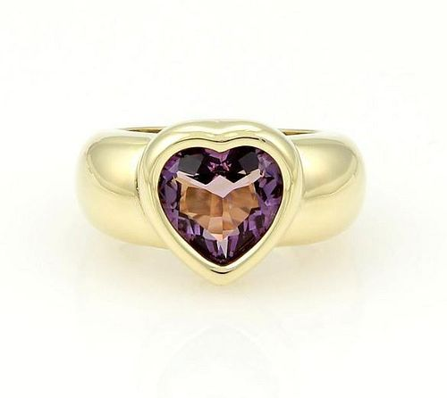 Piaget 18k Gold Heart Amethyst Gem Solitaire Ring