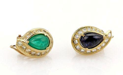 David Webb, Sapphire & Diamond 18k Gold Earrings