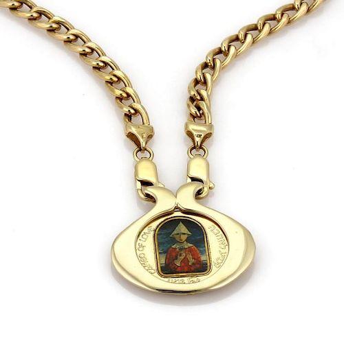 Marc Chagall Porcelain 14k Gold Coin Pendant&Chain