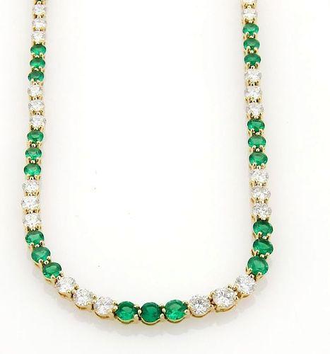 9.50ct Diamonds Emerald 18k Gold Tennis Necklace