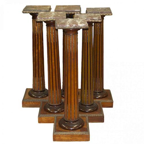 Six 20th C. Wooden Bronze & Marble Top Pedestals