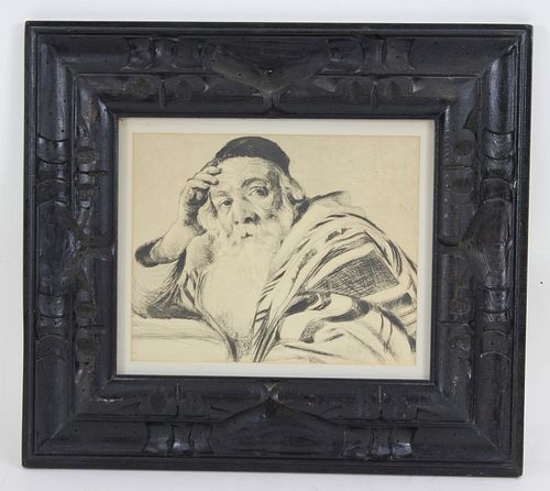 Rabbi Print In Carved Wooden Frame