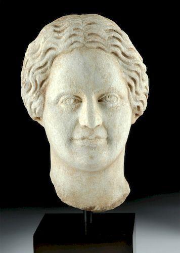 Near-Lifesize Roman Marble Head of Woman
