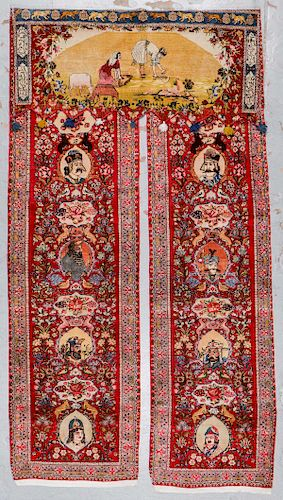 Fine Antique Tabriz Rug Curtain, 3 Parts: 4'9'' x 10'3''