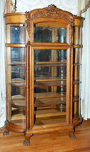 Curved Glass Oak China Cabinet Probably R J Horner