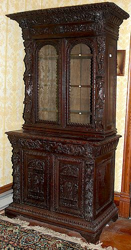 English Carved Court Cupboard