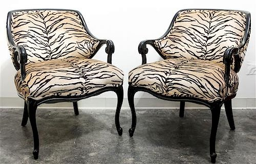 * A Pair of Louis XV Style Ebonized Armchairs Height 34 inches.