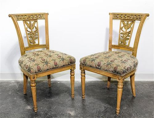 * A Set of Four Italian Carved Dining Chairs Height 35 1/4 inches.