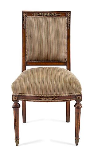 * An Empire Style Gilt Metal Mounted Mahogany Side Chair Height 39 inches.