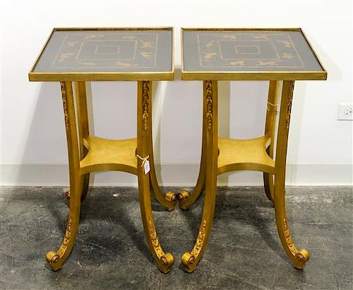 A Pair of Lacquered and Gilt Side Tables Height 27 1/2 x width 16 x depth 16 inches.