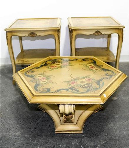 * Three Painted Tables Height of tallest 26 1/2 x width 24 x depth 24 inches.