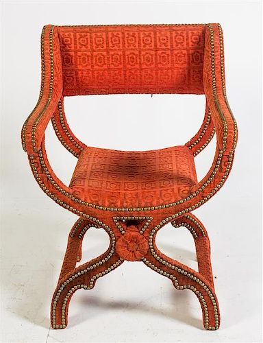* A Nailhead Decorated Upholstered Savonarola Armchair Height 34 3/4 inches.