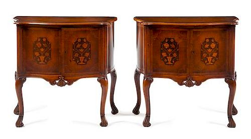 * A Pair of Queen Anne Style Marquetry Cabinets Height 32 1/8 x width 33 1/4 x depth 16 3/8 inches.