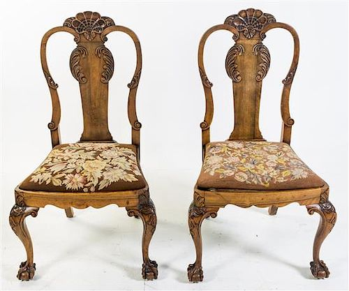 * A Pair of Queen Anne Style Side Chairs Height 43 inches.