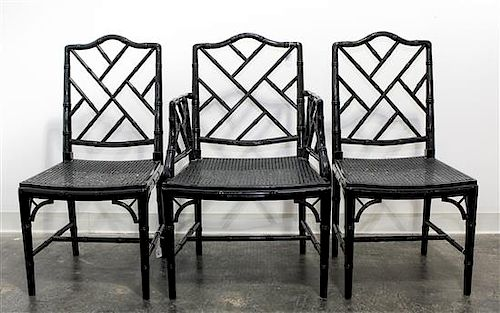 A Set of Six Georgian Style Black Lacquered Chairs Height 36 1/2 inches.