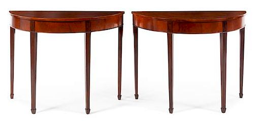 A Pair of Georgian Style Mahogany Console Tables Height 33 x width 43 1/2 x depth 19 inches.