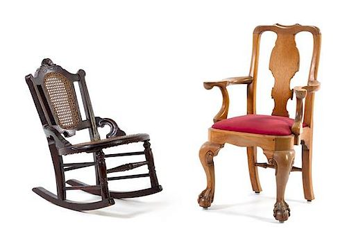 * Two Mahogany Child's Chairs Height of tallest 24 3/4 x width 17 3/4 x depth 13 inches.