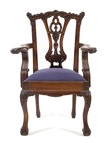 * A Queen Anne Style Mahogany Child's Chair Height 26 x width 16 x depth 13 inches.
