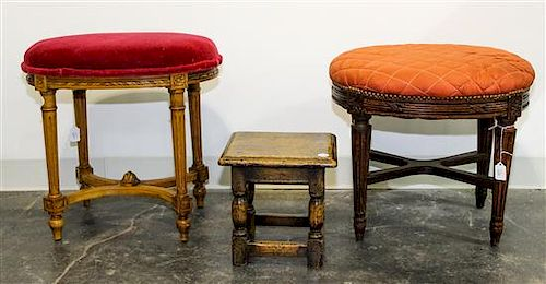 * A Group of Stools Height of largest 13 inches.