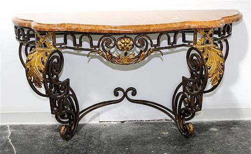 A French Iron and Gilt Tole Console Table Height of table base 33 x width 59 3/4 inches.