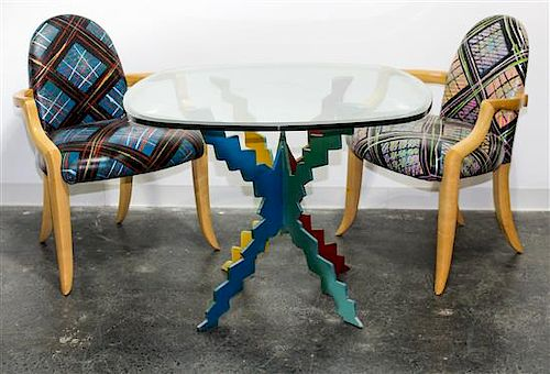 * Style of Peter Dudley, , a table and four chairs