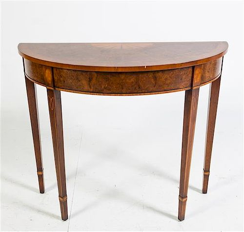 An Inlaid Mahogany Console Table, Skully & Skully Height 30 1/2 x width 35 3/4 x depth 14 1/2 inches.