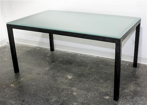 A Holly Hunt Dining Table Height 28 x width 60 x depth 36 inches (base).