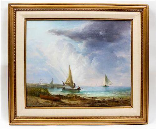 * Joseph Sulkowski, (American, b. 1951), Seascape with Sailboats, 1987