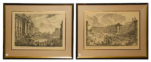 * A Pair of Italian Engravings Each: 15 3/4 x 23 inches.
