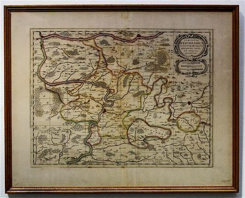 ENGRAVED MAP OF WERTHEIM Framed 20 1/4 x 24 7/8 inches.