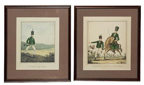 [PRINTS] A group of three modern 20th centruy reproductions after drawings by Captain Murray of the Queen's Ranger.