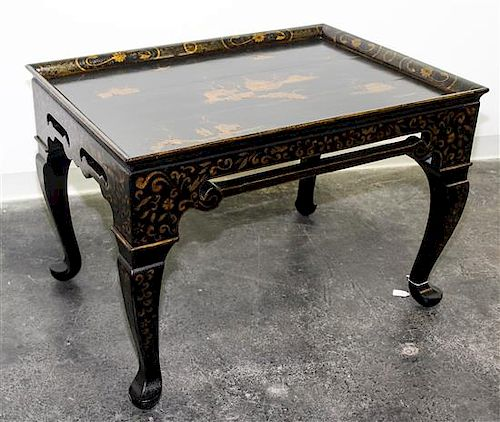 A Chinese Style Lacquered Low Table Height 24 1/4 x width 35 1/2 x depth 25 1/2 inches.
