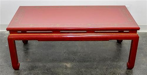 A Chinese Style Lacquered Low Table Height 18 1/2 x width 47 1/4 x depth 23 inches.
