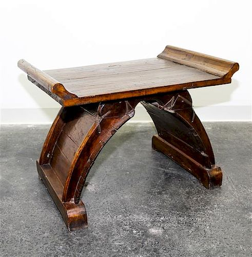 A Chinese Style Wooden Bench Height 20 1/4 inches.