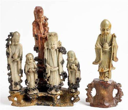 * Two Carved Soapstone Articles Height of taller 9 1/4 inches.