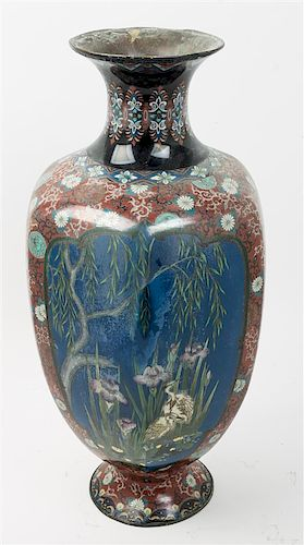 * A Chinese Cloisonne Vase Height 24 inches.