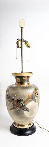 * A Japanese Porcelain Vase Height overall 37 1/2 inches.