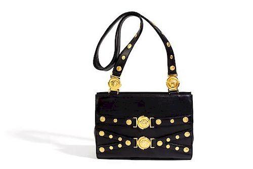 A Gianni Versace Black Leather Medusa Shoulder Bag 959da51b588d9