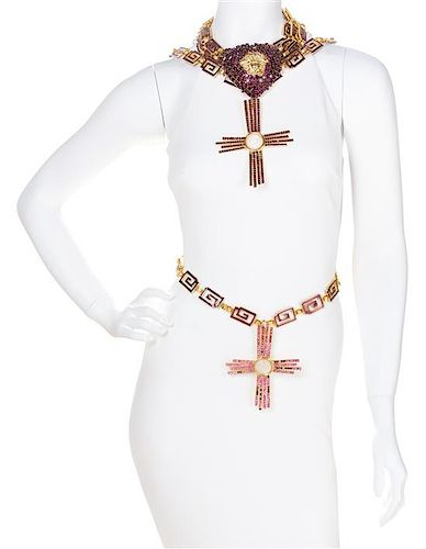 "A Gianni Versace Purple Rhinestone Heart Choker and Chain Belt, Heart: 4"" x 3.5""; Crosses: 5.5"" x 4.5""."