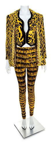 A Gianni Versace Animal Print Ensemble, Jacket and vest size 4, leggings size 42.