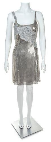 A Gianni Versace Silver Oroton Sleeveless Dress, Size 38.