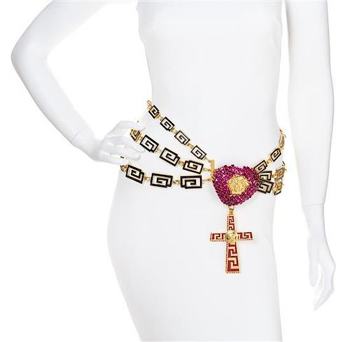 A Gianni Versace Runway Greco Link and Crystal Heart Belt,