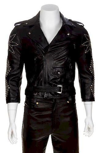 A Gianni Versace Black Leather Moto Jacket, No size.
